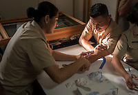 Blood tests for all crew before disembarking. Buque Escuela Cuahutemoc, Armada Mexicana.  A Mexican Navy sailing ship used as a school for sailing around the world on diplomatic misions. Off the coast of Oaxaca and Guerrero, Mexico