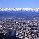 Panorama della Città di Torino, vista dal piazzale della basilica di Superga. Aprile 1990..Turin view from Superga. April 2007..Ph. Marco Saroldi/Pho-to.it