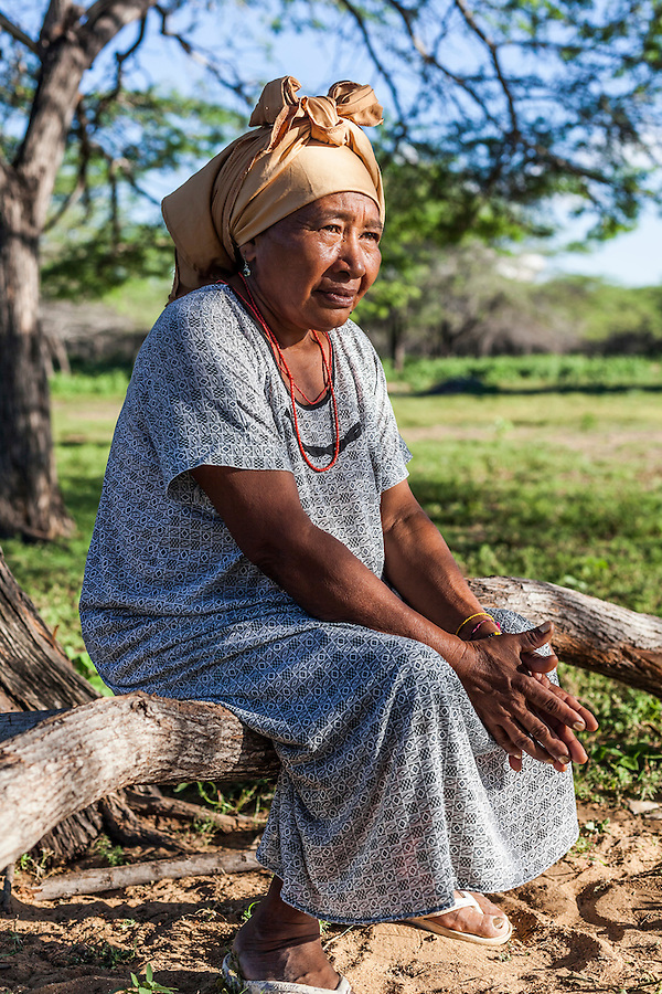 "Portrait of a middle-aged Wayuu woman in a ""rancheria"", or traditional rural settlement, in La Guajira, Colombia."