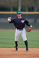 New York Yankees Matt Pita (38) during a Minor League Spring Training game against the Atlanta Braves on March 12, 2019 at New York Yankees Minor League Complex in Tampa, Florida.  (Mike Janes/Four Seam Images)