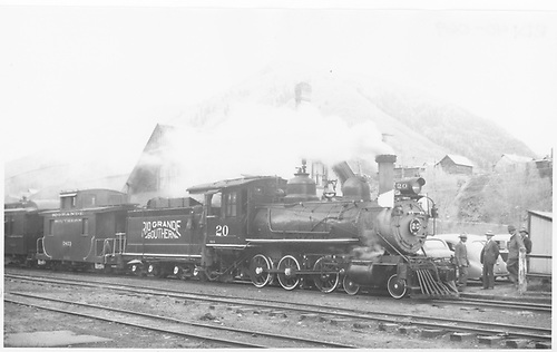Engineer-side view of RGS #20 with southbound Rocky Club excursion at Rico depot.<br /> RGS  Rico, CO  5/30/1947