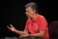 BOGOTA, Colombia. 2nd June 2014. Candidate and President, Juan Manuel Santos, is interviewed in the Face to Face program with Mike Schmulson, Telecaribe in Barranquilla. during his tour of the country for re-election in runoff. SANTOS Campaign/Juan José Horta / VIEWpress TO EDITORS : THIS PICTURE WAS PROVIDED BY A THIRD PARTY.  THIS PICTURE IS DISTRIBUTED EXACTLY AS RECEIVED BY VIEWpress, AS A SERVICE TO CLIENTS