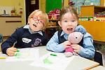 Left-Right: Brendan Locke Fitzgerald, Ashling Dwyer on their first day in Junior Infants at Ardfert NS on Tuesday