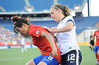 US Women's National midfielder Lauren Cheney (12) and Korea Republic midfielder Cho Sohyun (8) in action during the International Friendly soccer match between the USA Women's National team and the Korea Republic Women's Team held at Gillette Stadium in Foxborough Massachusetts.   Eric Canha/CSM