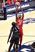Washington, DC - September 2 2018: Washington Mystics forward LaToya Sanders (30) shoots over Atlanta Dream center Elizabeth Williams (1) during semifinals game against Atlanta Dream. Mystics even the series and force a deciding game 5 in Atlanta with a 97-76 win at the Charles Smith Center at George Washington University in Washington, DC. (Photo by Phil Peters/Media Images International)
