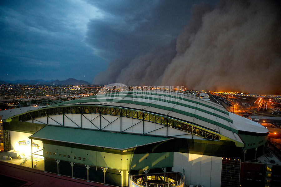 Jul. 5, 2011; Phoenix, AZ, USA; A dust storm converges on Chase Field home of the 2011 All Star Game. Mandatory Credit: Mark J. Rebilas-US PRESSWIRE