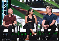 BEVERLY HILLS - JULY 23: (L-R) Executive Producer Jon Kroll, Freediver & Spearfisher Kimi Werner, and Chef Gordon Ramsay onstage during the GORDON RAMSAY: UNCHARTED panel at the National Geographic portion of the Summer 2019 TCA Press Tour at the Beverly Hilton on July 23, 2019 in Los Angeles, California. (Photo by Frank Micelotta/National Geographic/PictureGroup)
