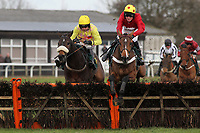 Race winner Ericht ridden by Gary Derwin jumps the last fence ahead of Whatsupjack ridden by Leighton Aspell during the Betfair Funds PJA Doctor National Hunt Maiden Hurdle - Horse Racing at Fakenham Racecourse, Norfolk