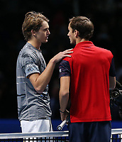 Alexander Zverev  (GER) reacts avec Russian  player and No.4 Seed Daniil Medvedev (RUS)  after he won his third  round robin match in London, O2 Arena at Nitto ATP Finals 2019<br /> London 15/11/2019 O2 Arena <br /> Tennis Nitto ATP Finals 2019 <br /> Photo Melanie Jeusette / Panoramic/ Insidefoto