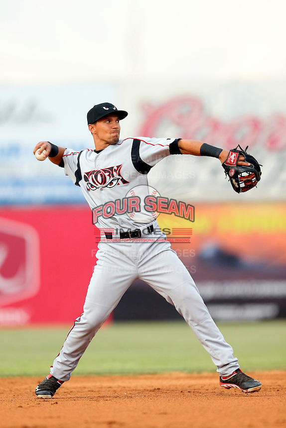 Jace Peterson #6 of the Lake Elsinore Storm during a game against the Lancaster JetHawks at The Hanger on May 9, 2013 in Lancaster, California. Lancaster defeated Lake Elsinore, 10-4. (Larry Goren/Four Seam Images)