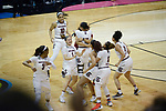 DALLAS, TX - APRIL 2: The South Carolina Gamecocks react after defeating the Mississippi State Lady Bulldogs during the 2017 Women's Final Four at American Airlines Center on April 2, 2017 in Dallas, Texas. (Photo by Evert Nelson/NCAA Photos via Getty Images)
