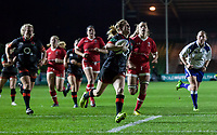 Danielle Waterman breaks through to score a try, England Women v Canada in an Autumn International match at The Stoop, Twickenham, London, England, on 21st November 2017 Final score 49-12