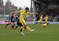 Declan Gallagher clears in the St Mirren v Livingston Scottish Professional Football League Ladbrokes Championship match played at the Paisley 2021 Stadium, Paisley on 14.4.18.