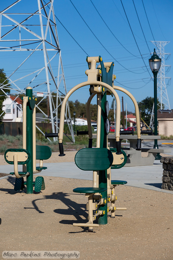 A Greenfields outdoor bodyweight chest press machine at State Street Park.