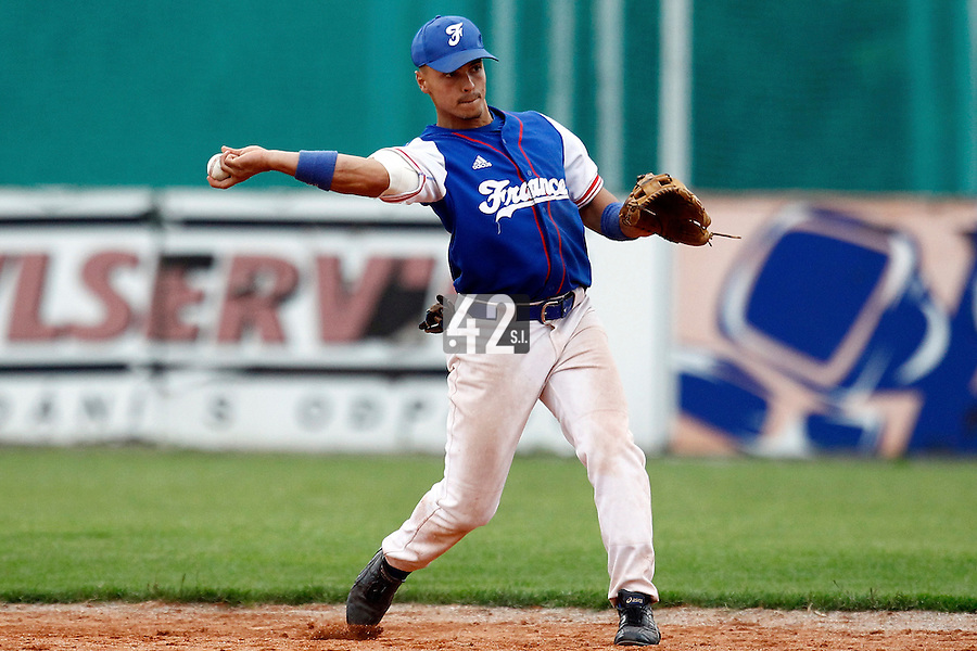 24 June 2011: Yann Dal Zotto of Team France is seen during France 8-5 win over UCLA Alumni, at the 2011 Prague Baseball Week, in Prague, Czech Republic.