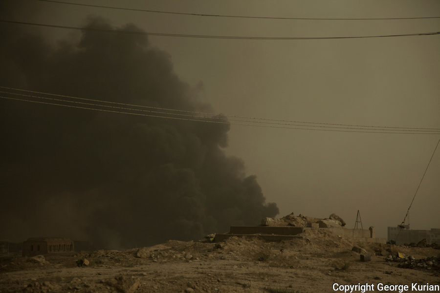 Qayyarah - The oil fields of Qayyarah have been set on fire by ISIS, in anticiptaion of the Mosul Offensive. Peshmerga and Iraqi forces believe this was done to deter coalition fighter jets.
