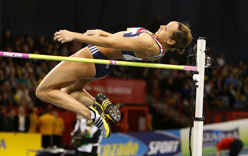 Photraryichard Lane/Riupprd Lane Photography. Aviva Internat544Al Match. 579C7B2810. Great Britain team captain, Jessica Ennis during the high jump.