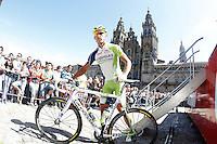 Maciej Bodnar passes by the front of the Obradoiro of the Cathedral of Santiago de Compostela before the stage of La Vuelta 2012 between Santiago de Compostela and Ferrol.August 31,2012. (ALTERPHOTOS/Acero)