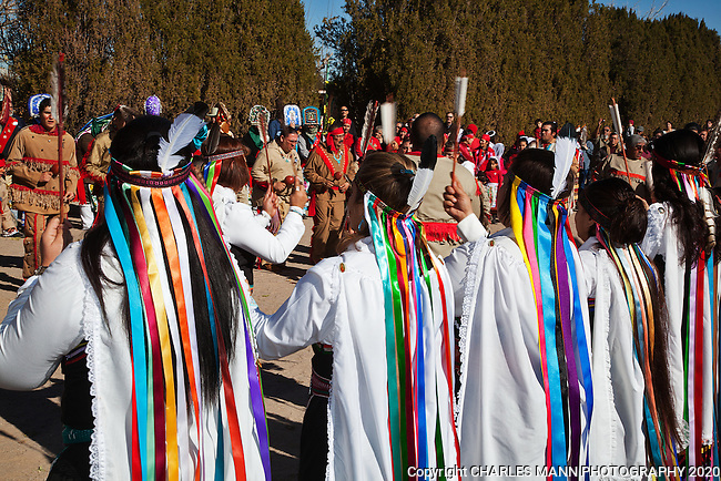 The villa of Tortugas near Las Cruces, New Mexico, celebrates the Virgin of Guadalupe Feast day each year on the traditional dates of December 10-12 with prayers, matchine dancers, a pilgrimage, and colorful Chichimecca dancers.The Danzantes are a  group that performs traditional dances druing  Guadalupe Feast Day.