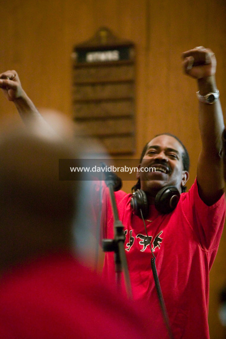 New York, USA - Hip-hop pioneer Kurtis Blow gestures during mass at the Greater Hood Memorial AME Zion Church, home of the Hip-Hop Church, in Harlem, New York, USA, 17 March 2005. Photo Credit: David Brabyn.