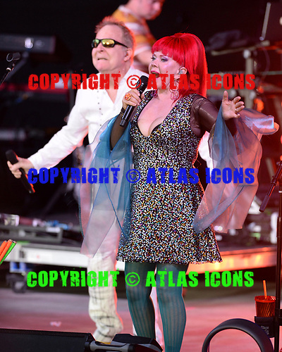 POMPANO BEACH FL - JULY 01: Fred Schneider and Kate Pierson of The B-52's perform at The Pompano Beach Amphitheater on July 1, 2018 in Pompano Beach, Florida. Photo by Larry Marano © 2018
