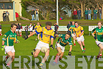 Finuges Conor Galvin shoots for a score ahead of St Michael/Foilmore's Brian Galvin and Adrian O'Connell during their Intermediate Championship semi-final in Killorglin on Saturday.....   Copyright Kerry's Eye 2008