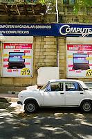 Azerbaijan, Baku. Street view. A Lada car.