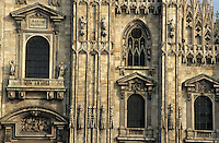 Intricate sculptures on the Milan Cathedral, Milan, Italy.