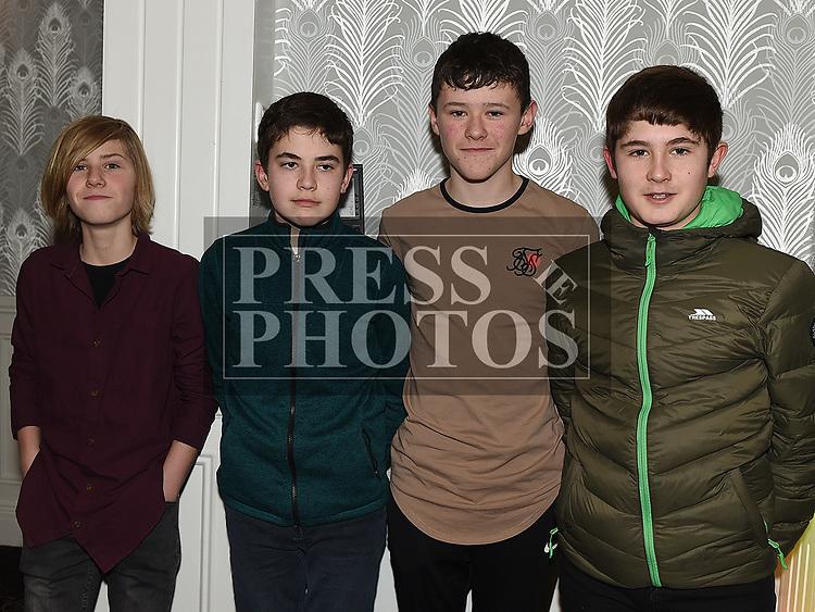 Christian Quinn, Ciaran McLoughlin, Callum Sheedy and Evan Cannife at the Boyne AC awards night in the Westcourt Hotel. Photo:Colin Bell/pressphotos.ie