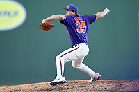 Closer Ryan Miller (35) of the Clemson Tigers delivers a pitch in the Reedy River Rivalry game against the South Carolina Gamecocks on Saturday, March 3, 2018, at Fluor Field at the West End in Greenville, South Carolina. Clemson won, 5-1. (Tom Priddy/Four Seam Images)