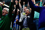 14.01.2018, Halle Berg Fidel, Muenster<br />Volleyball, Bundesliga Frauen, Normalrunde, USC Münsterr / Muenster vs. Dresdner SC<br /><br />Jubel Jšrg / Joerg Adler (PrŠsident / Praesident Muenster)<br /><br />  Foto © nordphoto / Kurth