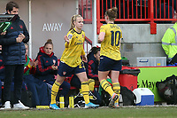 Beth Mead of Arsenal replaces Kim Little during Brighton & Hove Albion Women vs Arsenal Women, Barclays FA Women's Super League Football at Broadfield Stadium on 12th January 2020