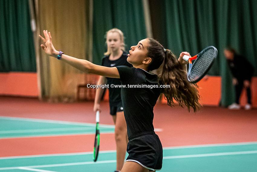 Wateringen, The Netherlands, December 15,  2019, De Rhijenhof , NOJK juniors doubles, Final girls 12 years,  Britt de Pree (NED) Lina Ilahi (NED) (R)<br /> Photo: www.tennisimages.com/Henk Koster