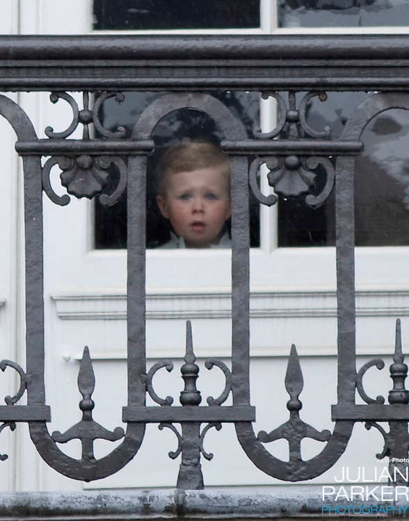 Prince Christian at Amalienborg palace in Copenhagen for Prince Frederiks 40th birthday celebrations.