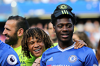 Ola Aina of Chelsea wears one of their caps for the Premier League Trophy presentation during Chelsea vs Sunderland AFC, Premier League Football at Stamford Bridge on 21st May 2017