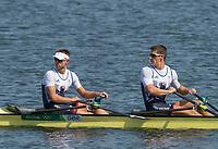 Rio de Janeiro. BRAZIL.   GBR M4X. Bow. Jack BEAUMONT, Sam TOWHSENG, Angus GROOM and Peter LAMBERT, moving onto the start pontoon at the 2016 Olympic Rowing Regatta. Lagoa Stadium,<br /> Copacabana,  &ldquo;Olympic Summer Games&rdquo;<br /> Rodrigo de Freitas Lagoon, Lagoa. Local    Saturday  06/08/2016 <br /> <br /> [Mandatory Credit; Peter SPURRIER/Intersport Images]
