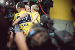 Christopher Froome with wife Michelle and son Kaylan wins his 4th Tour de France at the end of Stage 21 of the 104th edition of the Tour de France 2017, an individual time trial running 1.3km from Montgeron to Paris Champs-Elysees, France. 23rd July 2017.<br /> Picture: ASO/Thomas Maheux | Cyclefile<br /> <br /> <br /> All photos usage must carry mandatory copyright credit (&copy; Cyclefile | ASO/Thomas Maheux)