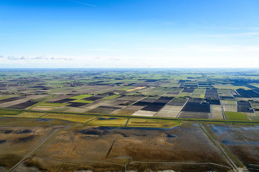 Nederland, Friesland, Gemeente het Bildt, 28-02-2016; landaanwinning op het Friesche Wad, gezien naar Polder Oude Bildtpollen en Nieuwebildtzijl en Oudebuldtzijl.<br /> Land reclamation, Fries Wad, northern Friesland, tidal flat.<br /> <br /> luchtfoto (toeslag op standard tarieven);<br /> aerial photo (additional fee required);<br /> copyright foto/photo Siebe Swart