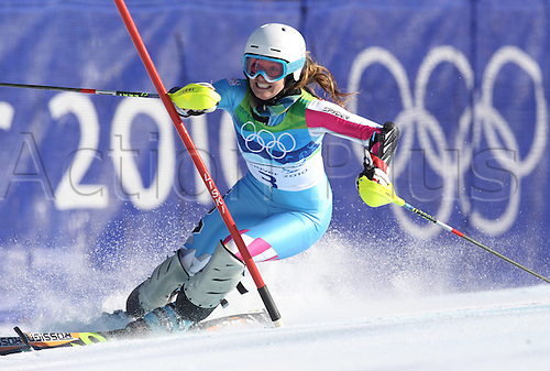 Julia Mancuso of USA competes during the Slalom portion of the Women's Super Combined event at the Vancouver 2010 Olympic Games on 18 February 2010 in Whistler, Canada. Mancuso won Silver. Photo: Karl-Joseph Hildenbrand  /Actionplus. Editorial UK Licenses Only