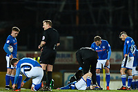 Andrew Cannon of Rochdale receives treatment after collision with Jack Sowerby of Fleetwood Town during the Sky Bet League 1 match between Rochdale and Fleetwood Town at Spotland Stadium, Rochdale, England on 20 March 2018. Photo by Thomas Gadd.