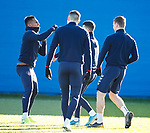 04.02.2020 Rangers training: Alfredo Morelos clowning about with Jordan Jones for a laugh