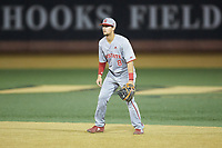 North Carolina State Wolfpack shortstop Will Wilson (8) on defense against the Wake Forest Demon Deacons at David F. Couch Ballpark on April 18, 2019 in  Winston-Salem, North Carolina. The Demon Deacons defeated the Wolfpack 7-3. (Brian Westerholt/Four Seam Images)