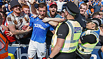 25.08.2019 St Mirren v Rangers: Borna Barisic celebrates his goal with the Rangers fans