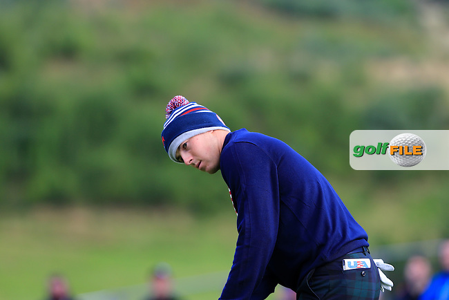 Jordan Spieth (USA) during the Saturday Afternoon Foursomes of the 2014 Ryder Cup at Gleneagles. The 40th Ryder Cup is being played over the PGA Centenary Course at The Gleneagles Hotel, Perthshire from 26th to 28th September 2014.: Picture Thos Caffrey, www.golffile.ie: \27/09/2014\