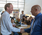 Microsoft president and chief legal officer Brad Smith meets with Fernley middle school superintendent Wayne Workman in Fernley, Nevada on Tuesday, July 18 2017.
