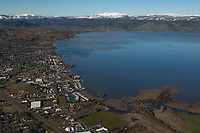 aerial photograph of Lakeport, Clear Lake, Lake County, California with a view down Main Street.  mountains in the Snow Mountain wilderness and the Mendocino National Forest are in the background..