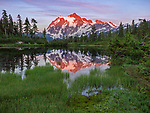 Mount Baker-Snoqualmie National Forest, WA:  Mount Shuksan reflected in Picture Lake at sunset in summer