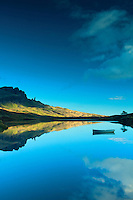 The Storr and the Old Man of Storr from Loch Fada, Isle of Skye, Inner Hebrides, Highland