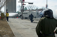 April 2001 File Photo,Quebec City, Quebec, Canada; <br /> <br /> The Quebec provincial police (Surete du Quebec) use water cannon to disperse demonstrators dring the Quebec Summit of the Americas   <br /> (Mandatory Credit: Photo by Michel Karpoff - Images Distribution (©) Copyright 2001 by Michel Karpoff<br /> <br /> NOTE :  D-1  original JPEG, saved as Adobe 1998 RGB.