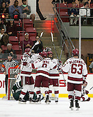 The Crimson celebrate Victor Newell's (Harvard - 8) goal. - The Harvard University Crimson defeated the Dartmouth College Big Green 5-2 to sweep their weekend series on Sunday, November 1, 2015, at Bright-Landry Hockey Center in Boston, Massachusetts. -